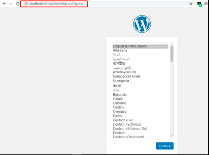 本地环境安装Wordpress选择语言